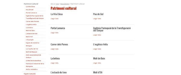 Contenidos de Turismo en la web de Juneda